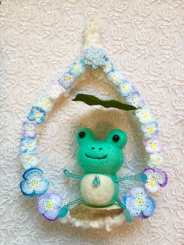 羊毛フェルト 紫陽花とカエル壁飾り