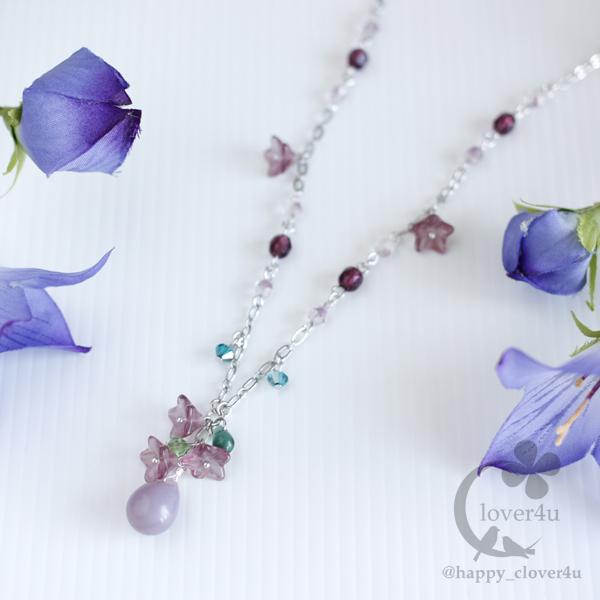桔梗(ききょう)の雫ネックレス・紫/n344