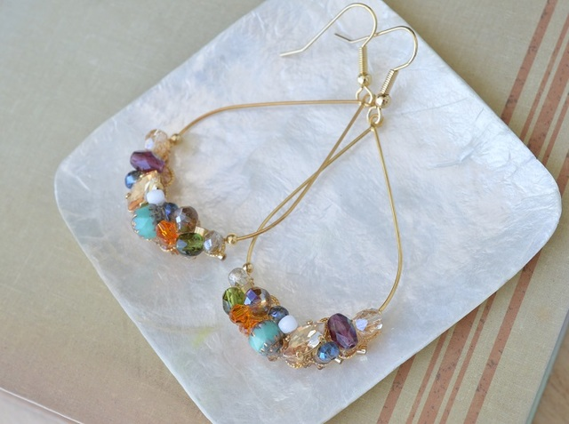 Colorful Beads フープピアス 〜オリエ...