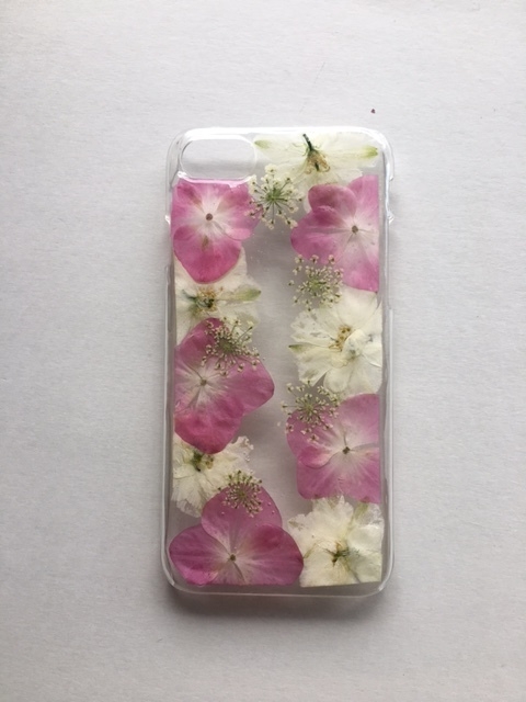 iphone7/6/6s用  紫陽花押し花スマホケース