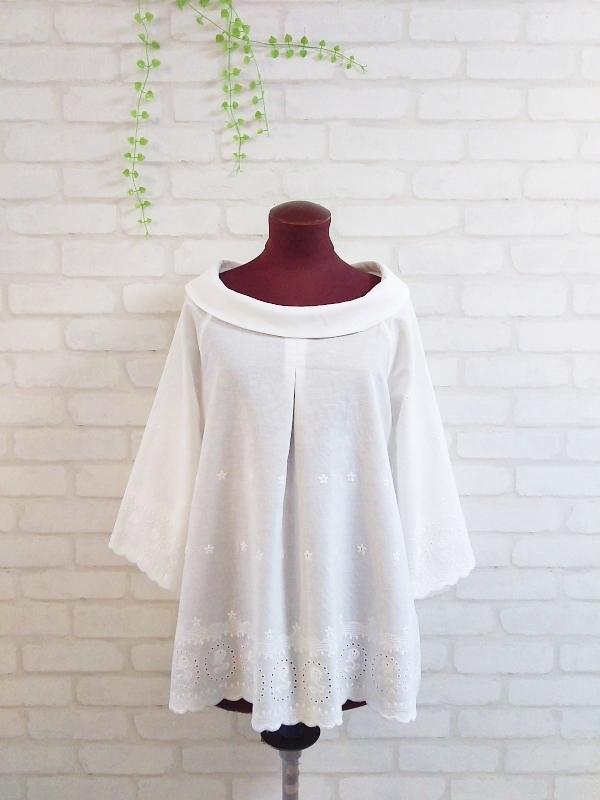 ☆春新作☆ 袖裾スカラップ刺繍のロー...