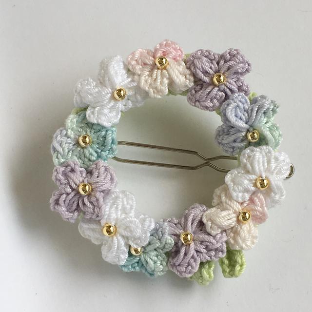 紫陽花のふんわりリースヘアピン
