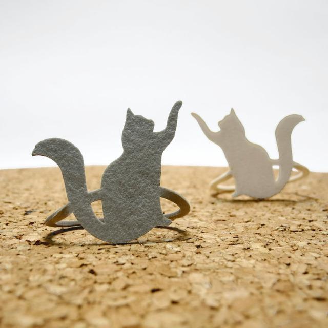 【送料¥80】 猫(ネコ)のブックマーク・白猫 / 灰色猫 セット
