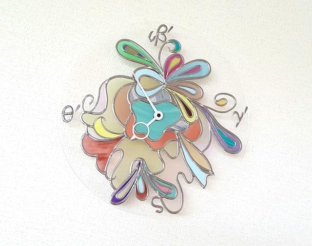 グラスアートで作った壁掛け時計『フロ...