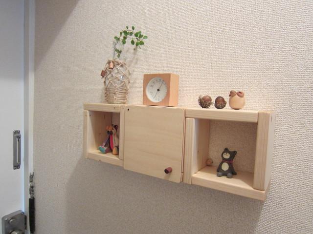 木の壁掛け棚ミニー03(クリア)