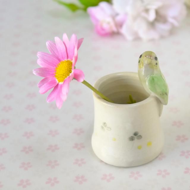 小鳥のはんこたて セキセイインコ(陶器の小鳥の小物入れ)