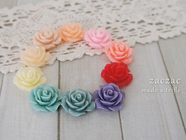【販売終了】お花カボション10個セット*薔薇