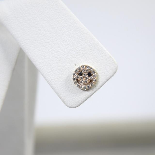 sale retailer cc6b7 5e2da 可愛いスマイルデザインのダイヤモンドピアス☆ K10ダイヤ ピアス 0.15/0.15ct イエローゴールド ニコちゃん