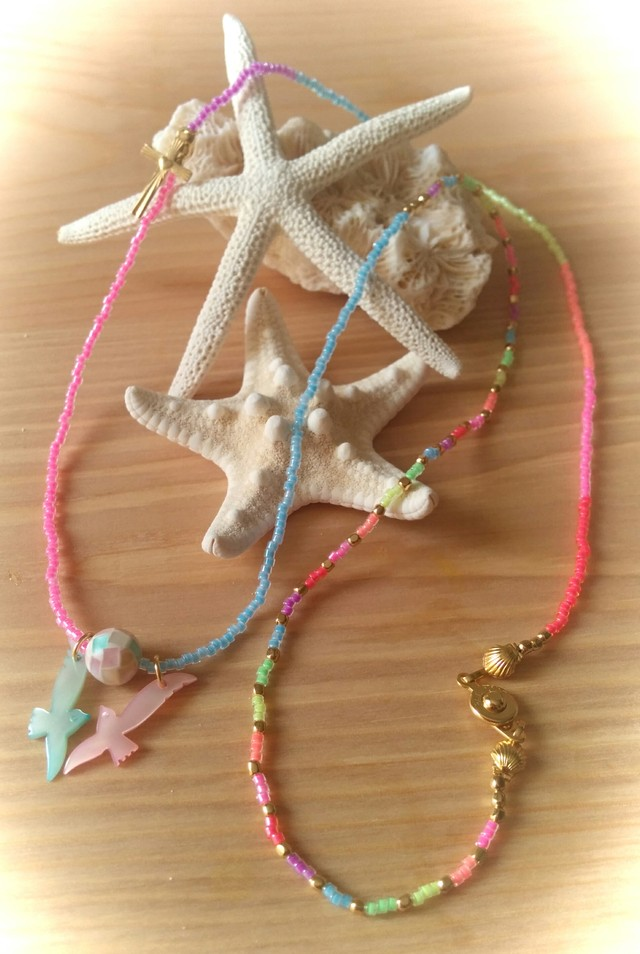 【再販】Rainbow Love birds Necklace