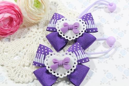 Wリボンのヘアゴム(リボンと紫の鍵盤)
