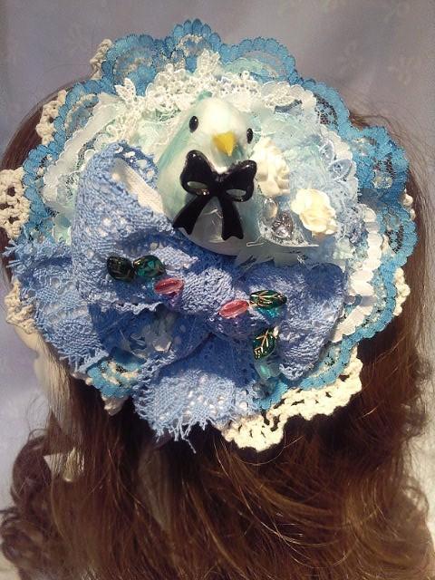 送料無料!!ブルーの小鳥のラウンド型ヘッドドレス
