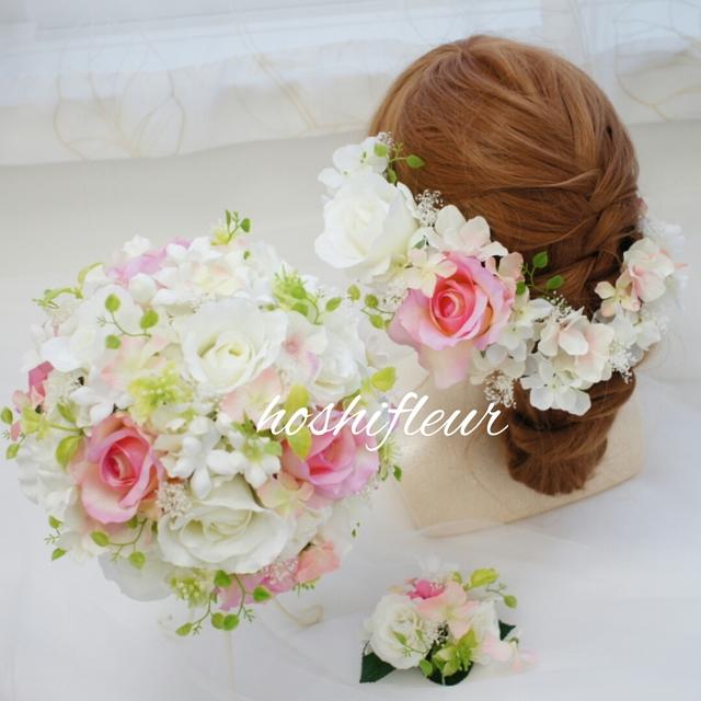 ウエディングブーケ+ブートニア+ヘアパーツ♡ピンクウェディングブーケピンクウエディングブーケ結婚式ブーケピンクブーケ