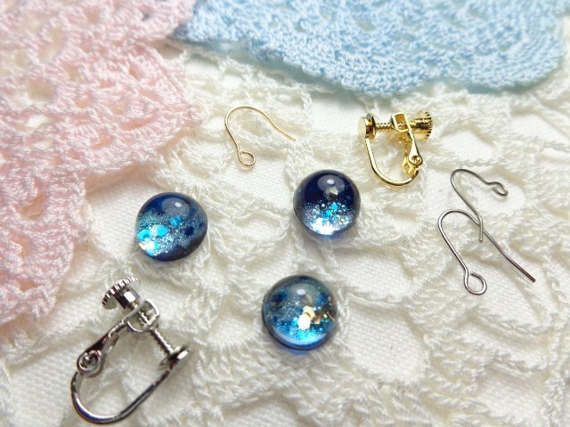 きらめく天の川のイヤリングorピアス(金具、色など選択可能!)