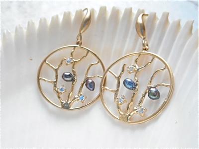 Coral Reef mermaid earrings/gold
