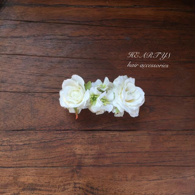 *ホワイトローズと小花のバレッタ【送...