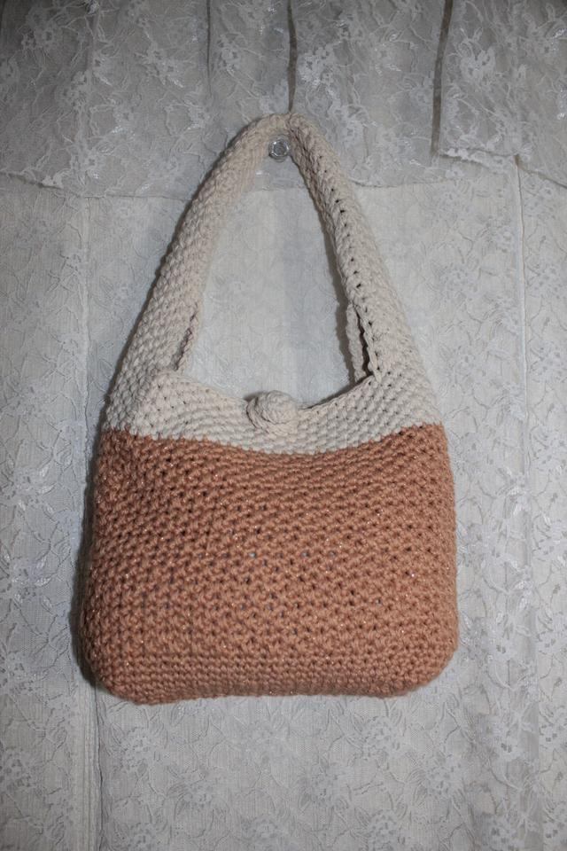 コットン編み編みバッグ*小