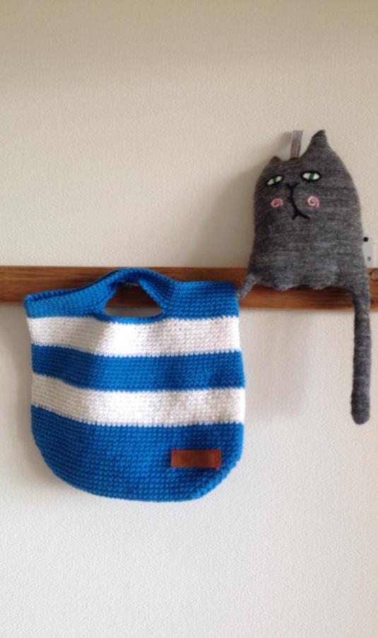 しましま手編みバッグ