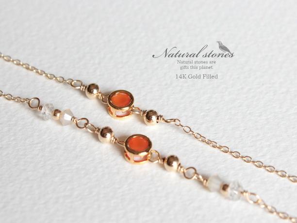 Candy charm Bracelet 14KGF カーネリアンB