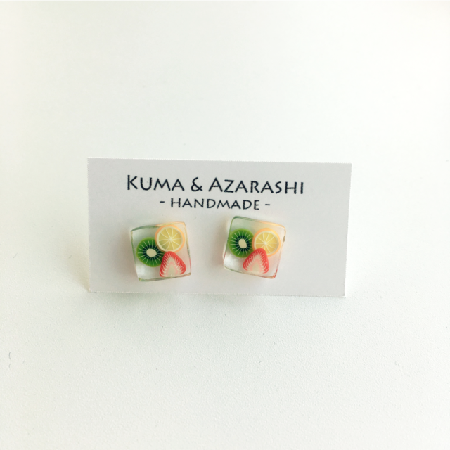 [SOLD]3種のフルーツピアス◇NAIL JEWELRY