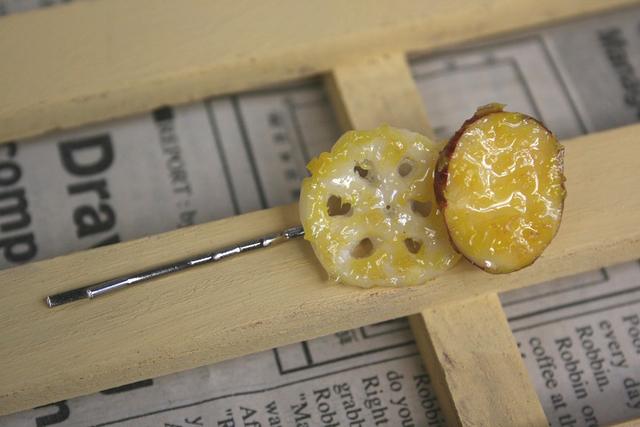 さつまいもとレンコンの天ぷらヘアピン