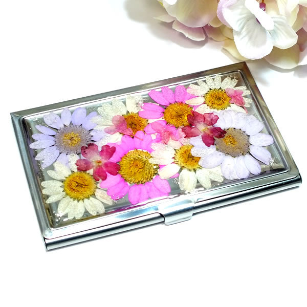 押し花のカードケース(名刺入れ)*白...
