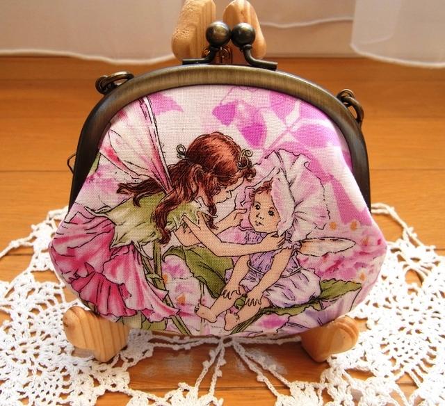 がま口10cmペタンコポーチ(持ち手付き)*花と妖精PINK