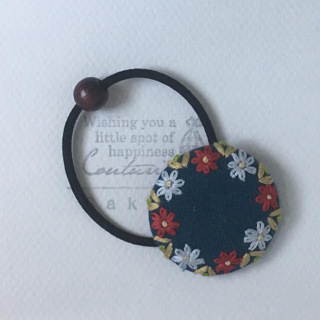 お花のリース刺繍 * ヘアゴム