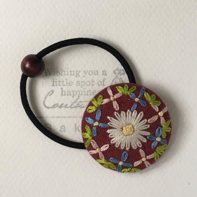 お花の刺繍 * ヘアゴム