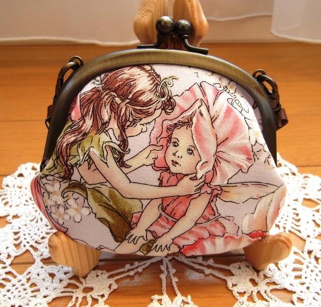 がま口10cmペタンコポーチ(持ち手付き)*花と妖精ROSE