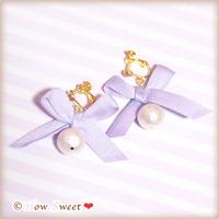 コットンパールとコットンリボンのイヤリング[lavender]