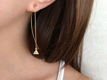 ◇042◇【gold】 triangle cubic zirconia chain earring/pierce