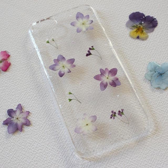 iPhoneケース iPhone7 押し花 紫陽花...