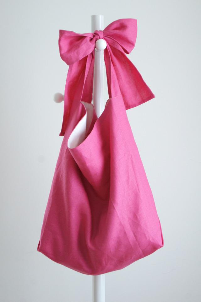 【new】リネンリボンのバッグ(ピンク)