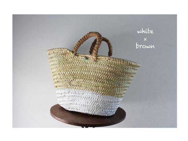 <Sale!>oval paint kago bag/White