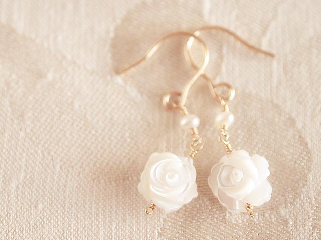 14KGF Sugar Rose Earrings WH