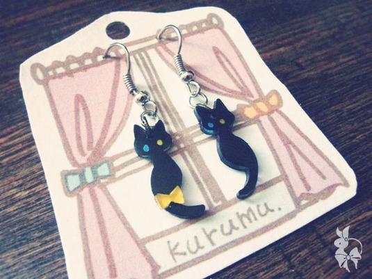 黒猫とリボンのピアス【*追加販売開始】