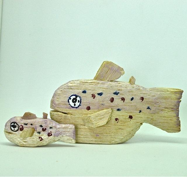 送料無料/木彫り人形 A-1(大小2個組)
