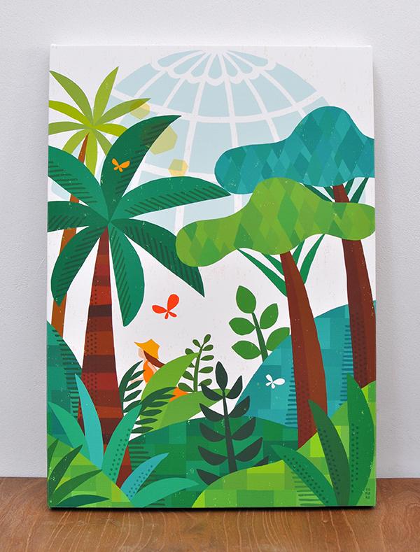 キャンバスパネル「植物園の朝」
