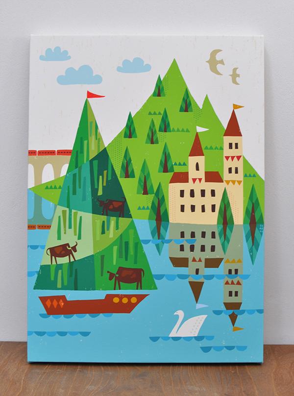 キャンバスパネル「時は湖畔を越え」
