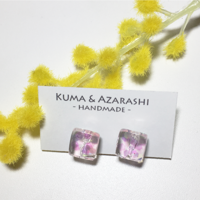 [SOLD] オーロラホロのゼリーイヤリング(クリア&ピンク)◇NAIL JEWELRY