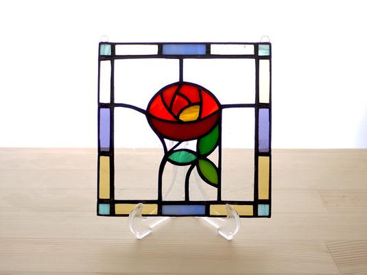 ステンドグラスパネル ローズ Mサイズ