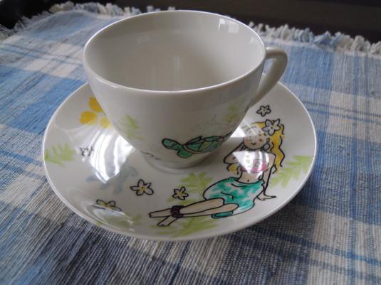 手描きカップ&ソーサー フラガールとホヌ、ドルフィン