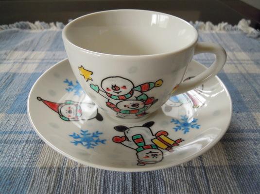 手描きカップ&ソーサー スノーマンの仲間たちとスノーフレーク
