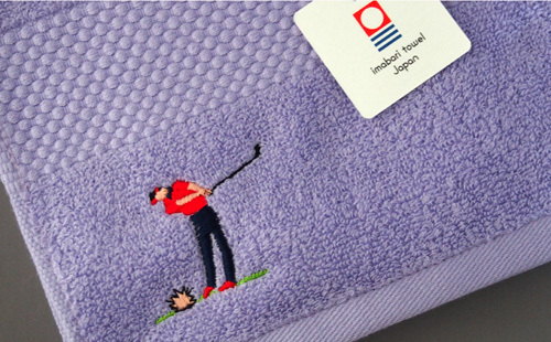 ゴルフ刺繍のフェイスタオル(ラベンダー)