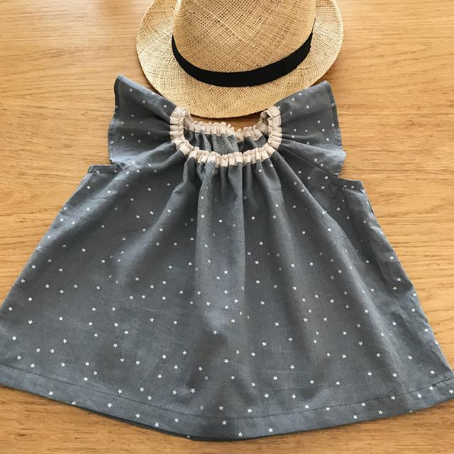 小さな星のフリル袖ブラウス 100