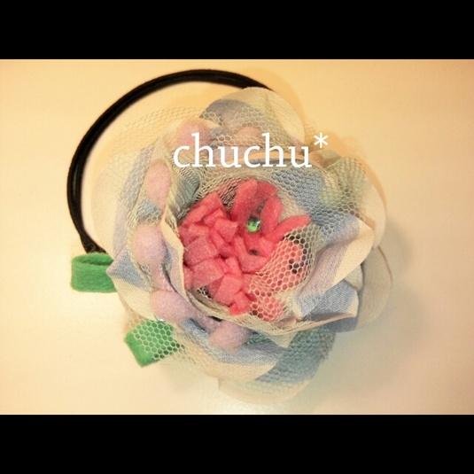 【sold out】ドリームカラーなお花のヘアゴム?