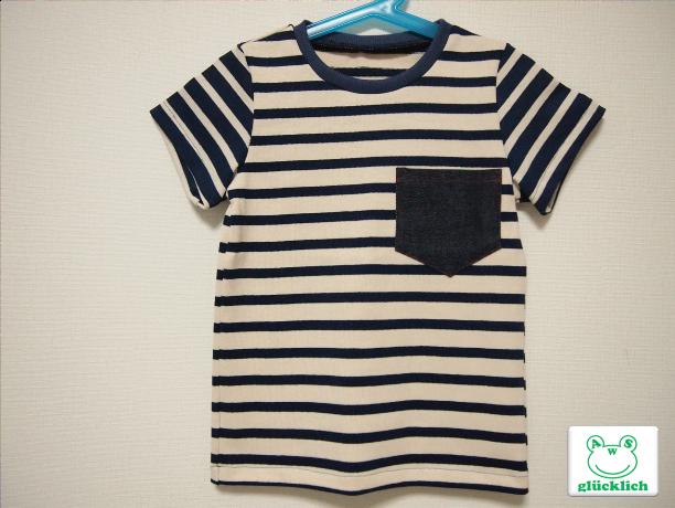 クルーネックボーダーTシャツ/110/紺...