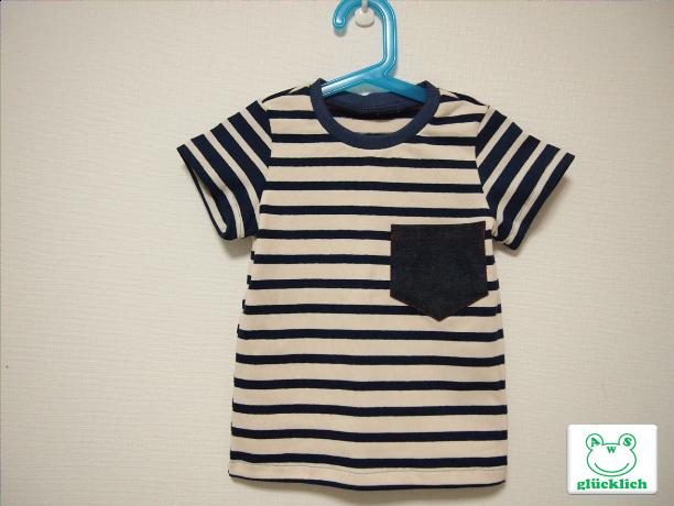 クルーネックボーダーTシャツ/100/紺...