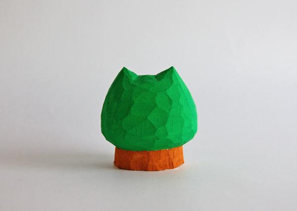 木彫り ネコ木 5センチ幅 [MWF-352]