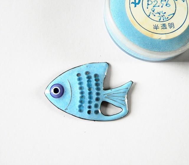七宝焼・パールブルーのおさかな